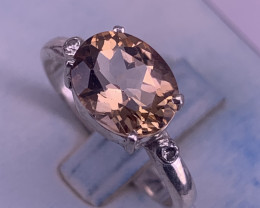 Natural Topaz with Cz ring