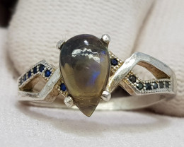 Natural Black Fire Opal 16.80 Carats 925 Silver Ring