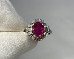 GIA Certified Untreated Burmese Ruby and Diamond Platinum Cocktail Ring 2.2