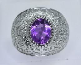 42.26 Crt Natural Amethyst 925 Silver Ring