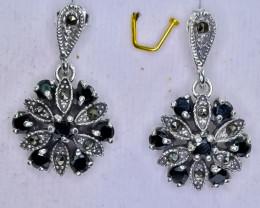 36.22 Crt Natural Sapphire 925 Silver Earrings