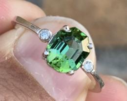 Natural Afghanistan Jaba mine Tourmaline Ring with diamonds.