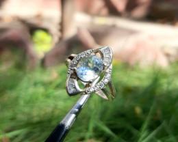 18.45 carat sea blue aquamarine with cz 925 silver ring.