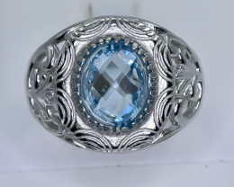 47.12 Crt Natural Topaz 925 Sterling Silver Ring