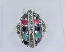 27.46 Crt Natural Ruby Emerald And Sapphire 925 Sterling Silver Ring