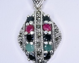 24.00 Crt Natural Ruby And Sapphire Emerald 925 Sterling Silver Pendant