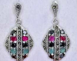 47.73 Crt Natural Emerald Ruby Sapphire 925 Sterling Silver Earrings