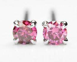 18k White Gold 0.40 Gram 0.20 Cts Pink Diamond Earrings