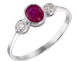 0.46 Cts Red Ruby 0.13 Cts Diamond 9k White Gold 1.09 Gram Rings