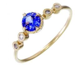 Violet Blue Tanzanite White Diamond  2.00 gm 9k Yellow Gold Rings