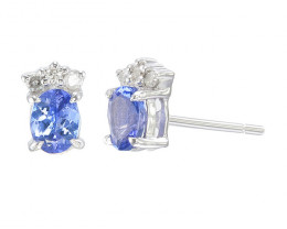 Tanzanite Single Stunningly Earring with diamond in white Gold