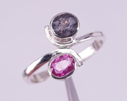Natural sapphire and spinel ring
