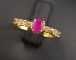 18k Gold Natural Ruby and Diamond Ring.