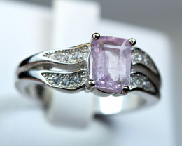 Natural Extremely rare Prurple Apatite@AFGHAN , CZ 925 Silver Ring