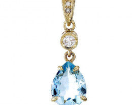 1.03 Cts Aquamarine 9K Yellow Gold Real Diamond Solitaire Pendant-
