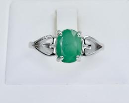 14.29 Crt Natural Emerald 925 Silver Ring