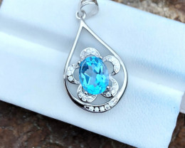 12.20 Ct Natural Blue Transparent Swiss Topaz Necklace