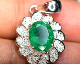 Precious top Color 1.85Carat Top Green Emerald ,CZ 925 Silver Pendant#12
