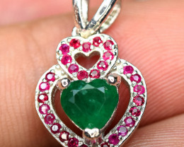 Precious top Color 0.65Carat Emerald ,heated Ruby30pis1.2mm 925 Silver Pend