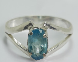 Natural 11.00 Carats Oval Shape Blue Zircon Ring. 8x4x3 mm.