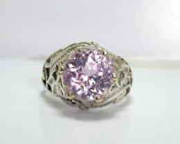 19.50 carats Round Pink kuzite 925 Silver Ring, 9x9x6mm.