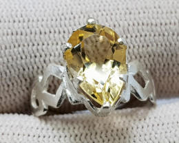 Natural Yellow Citrine 13.55 Carats Hand Made Silver Ring
