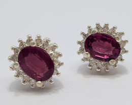 Natural Purple Rhodolite Garnet 15.40 Carats 925 Silver Earrings