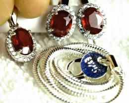 73.22 Tcw. Ruby Earrings, Pendant, Chain - Gorgeous