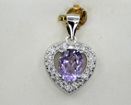 Natural Amethyst, CZ and 925 Silver Pendant, Elegant Design