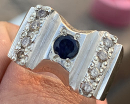 Natural Diamonds and Sapphire Gents Ring.