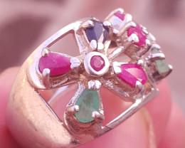 Natural Multi Stone Ring .