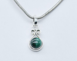 MALACHITE PENDANT 925 STERLING SILVER NATURAL GEMSTONE JP172