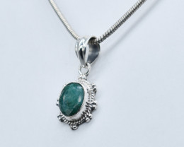 EMERALD PENDANT 925 STERLING SILVER NATURAL GEMSTONE JP174