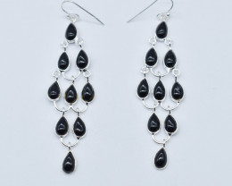 BLACK ONYX EARRINGS 925 STERLING SILVER NATURAL GEMSTONE JE174