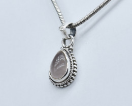 ROSE QUARTZ PENDANT 925 STERLING SILVER NATURAL GEMSTONE JP177