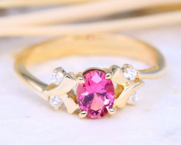 Vivid Pink Tourmaline Engagement 10K Gold VS Diamond Ring J84R