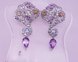 Natural Amethst With Citrin And Topaz Earrings