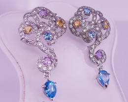 Natural Topaz With Citrin And Amethyst Earrings