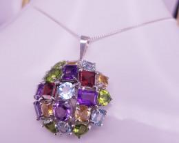Natural Amethyst,Topaz,Rhodolite Garnet,Citrin,Peridot  Necklace