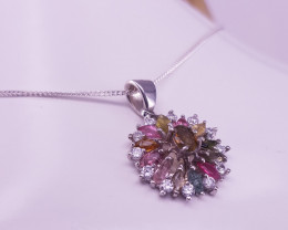New Style Natural Multi Tourmaline Stones Necklace