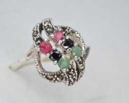 Antique Style Multi Stone and Silver Ring