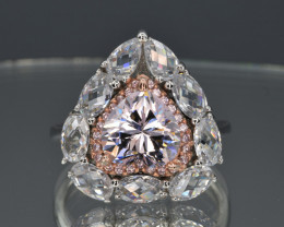 Sparkle Like Diamond Pink and Colorless Cubic Zirconia and 925 Silver Ring,