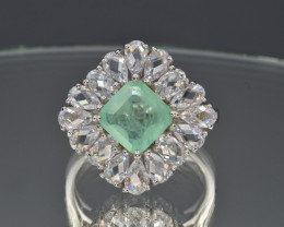 Emerald Imitation and Colorless Cubic Zirconia and 925 Silver Ring, Custom
