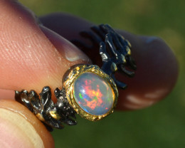 Opal Solitaire Ring in Sterling Silver