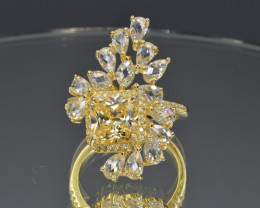Sparkle Like Diamond Yellow and White Cubic Zirconia and 925 Silver Ring, C