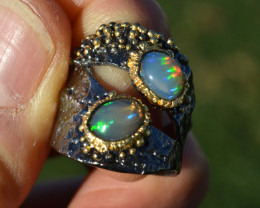 Dual Opal in Hammered Sterling Silver Ring