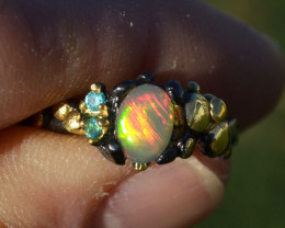 Opal and Topaz Ring in Sterling Silver