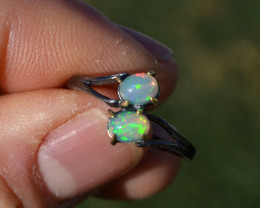 Dual Opal Ring in Sterling Silver