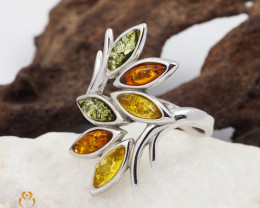 Baltic Multi Amber Sale, Silver Ring  code RN 171