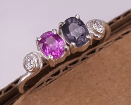 Natural Pink sapphire/Grey spinel and CZ Ring